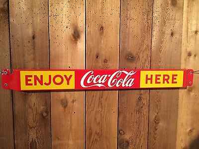Rare 1959 Canadian Coca-Cola Coke porcelain door push pushbar sign