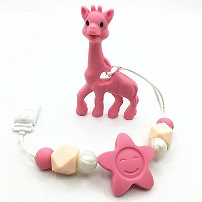 Silicone Beads Giraffe Teether Clip, Teething Toy For Babies, Silicone Teething