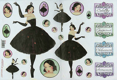 Rice paper -Dancer in Black Gloves- for Decoupage Scrapbooking Sheet
