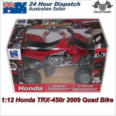 1:12 Scale Honda TRX-450R 2009 Quad Bike - red diecast model