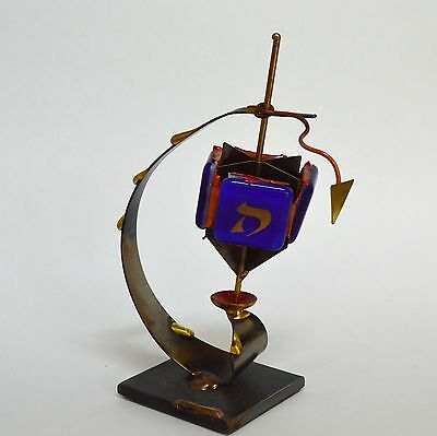 Gary Rosenthal Handcrafted Metal & Fused Glass Dreidel With Stand Sculpture