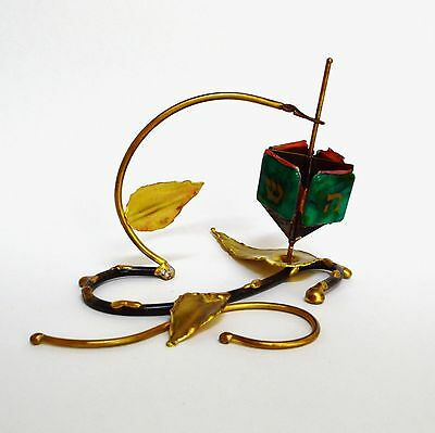 Gary Rosenthal Handcrafted Metal & Fused Glass Dreidel With Stand Sculpture #2