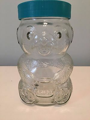 Vintage SKIPPY PEANUT BUTTER Glass TEDDY BEAR JAR 48 OZ with Original Blue Lid
