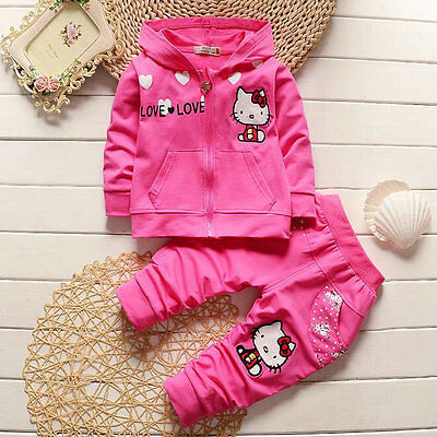 New girl Hello kitty Hooded Jackets Tops+Pants Kids sport Tracksuit 6M-3yrs