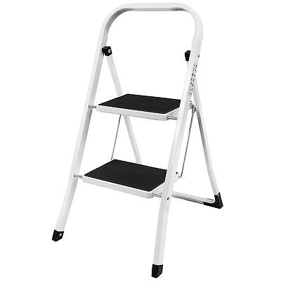 2 Step Ladder Anti-Slip Mat Folding Iron Strong Safe Stool DIY By Home Discount