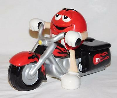 Galerie 2003 M&m's Red Rider Motorcycle Candy Dispenser Ceramic Trinket Box