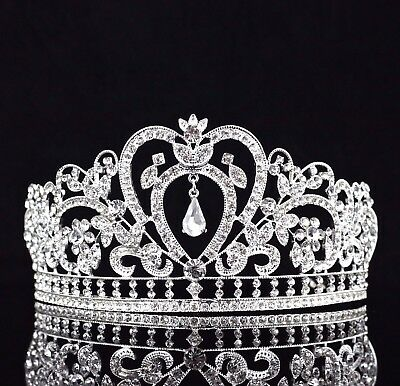 Gorgeous Clear Austrian Rhinestone Crystal Tiara Crown Bridal Pageant T10