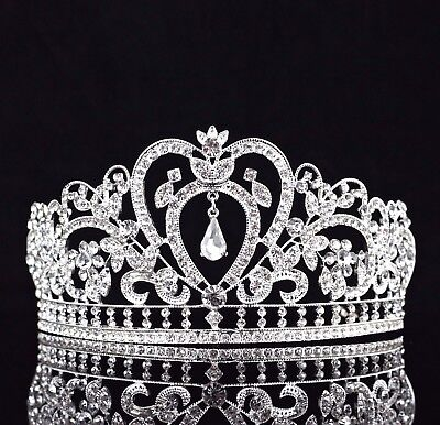 Heart Floral Clear Austrian Rhinestone Tiara Crown Bridal Pageant Prom T10