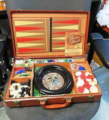 Vintage LOWE GAMING SET IN CASE ROULETTE, HORSE RACE, POKER, CHESS