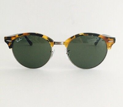 Ray Ban ClubRound Sunglasses Tortoise/Black, Green Classic RB4246 1157, 51mm