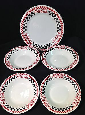 Gibson Coca Cola Plate & 4 Bowls Black Red Checkerboard Pattern 1996