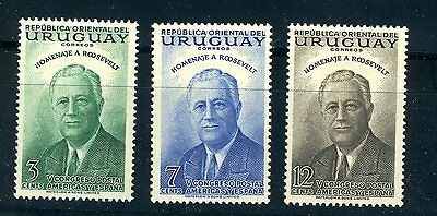 Uruguay stamps: 1953 Full set of Franklin D. Roosevel, Scott # 602-604, MNH