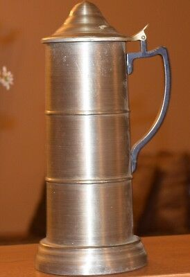"""11"""" Tall Pewter Stein, Glass Bottom, With Lid"""