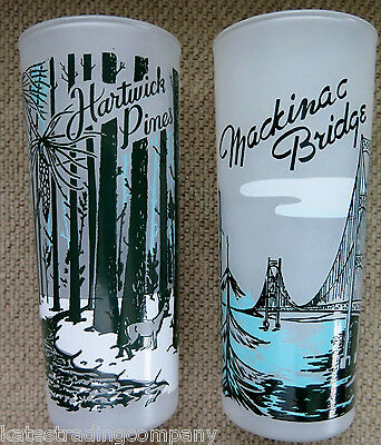 2 Tall Vintage Style Michigan Landmark Frosted Glasses Mackinaw & Hartwick Pines