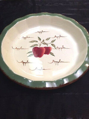 Home Interiors Apple Orchard Deep Pie Dish & Small Bowl or Chips & Dip Set. EUC