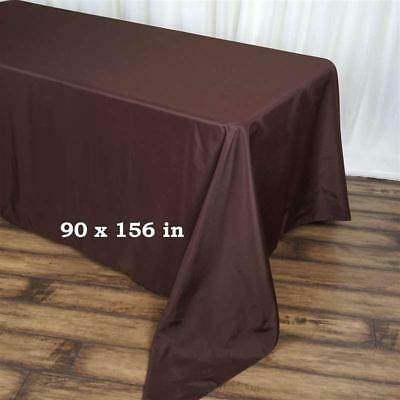 """10 Pack Chocolate 90x156"""" Polyester Rectangle Seamless Tablecloth Wedding Party"""