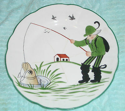 """RaRe ANTIQUE Saxe FISHERMAN 10"""" Plate FISH FISHING signed & numbered"""
