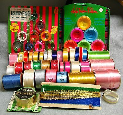 Lot 1950s-1970s Vintage Curling Ribbon Tinsel Cord 500+ Yds Craft Floral Bows