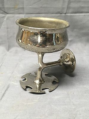 Antique Nickel Brass Wall Mount Cup Toothbrush Holder Old Vtg Bathroom 372-17E