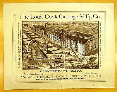 1884 Full Page Ads LOUIS COOK CARRIAGE MFG. CO. Cincinnati OH C.COWLES New Haven