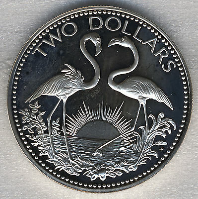 Bahamas $2 Dollars 1974 West Indian Flamingo Proof Sterling Silver .925 40mm