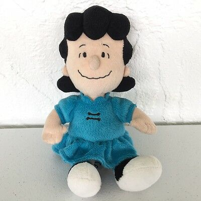 """RARE Metlife Peanuts Charlie Brown LUCY 8.5"""" Blue Plush Stuffed Doll EXC Cond"""