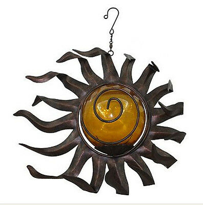 Sun Ray Hanging Wind Spinner Bronze Tone/Amber Outdoor Patio and Garden Decor