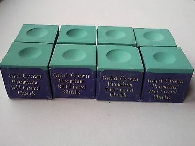 Gold Crown Sports Billiard Pool Snooker Cue Tips Green Chalk x 8 FREE POSTAGE