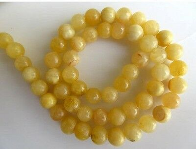 Yellow Calcite Large Hole Gemstone 8mm Smooth Round Beads 15 Inch Strand GDS553