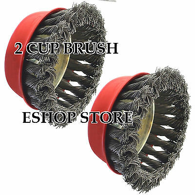 """2 Cup Brush Twist New 4"""" x 5/8"""" 11 NC FINE Knot Wire - For Angle Grinders Wheel"""