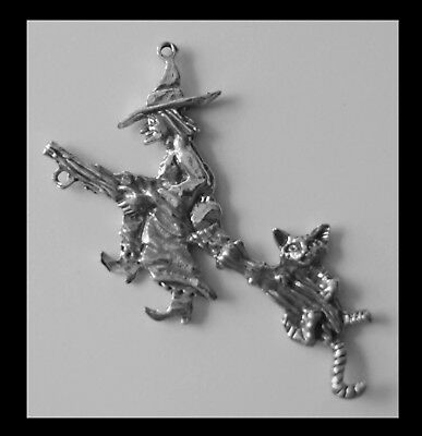 PEWTER CHARM #420 WITCH FLYING BROOM CAT 2 bails DOUBLE SIDED joiner 90mm x 45mm
