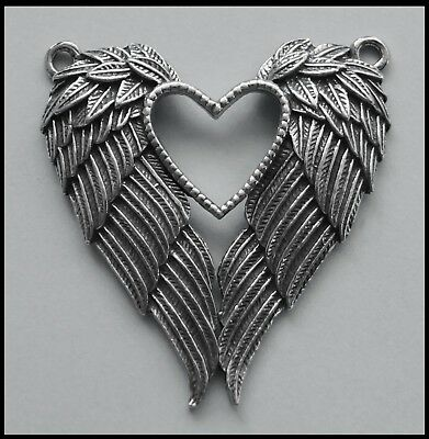 PEWTER CHARM #431 ANGEL FEATHER WiNGS / HEART 43mm x 48mm 2 top bails