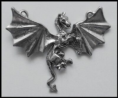 PEWTER CHARM #430 Dragon 50mm x 43mm 2 top bails wings spread flying