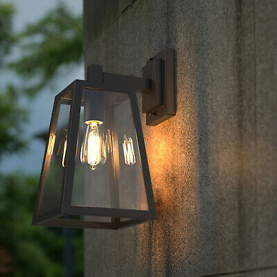 Outdoor Vintage Wall Sconce Lantern Lamp Stainless Steel Porch Yard Light-Black