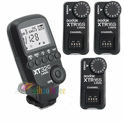 Godox XT32C Wireless Flash Trigger 1/8000s + 3Pcs XTR-16S Receiver For Canon【AU】