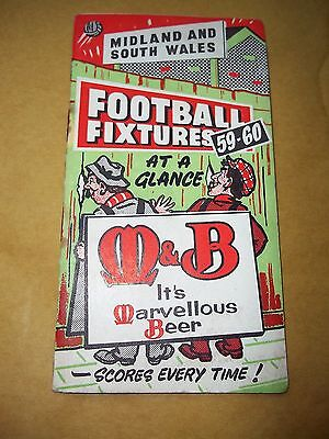 The Football Fixture For Midland & South Wales Clubs For 1959/60 - M & Butler