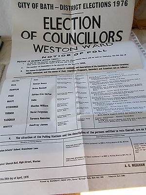City of Bath District Elections 1976 Original Poster For Election Of Councillors