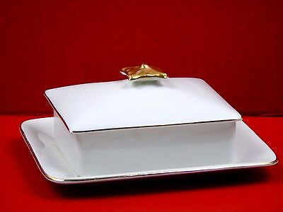 Art Deco Burgess & Leigh Burleigh Ware Gilded Butter Dish and Lid - 1930s
