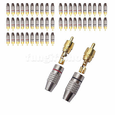 50 pcs Solder Soldering Gold Plated RCA Male Plug Adapter Connector Audio Video