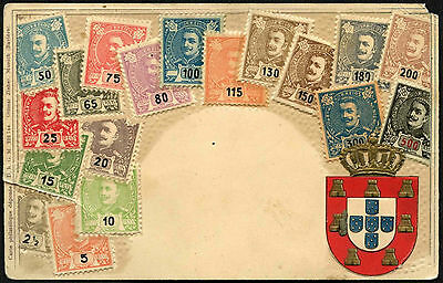 Portugal 1900's Embossed Stamps Illustrated Postcard #C41678