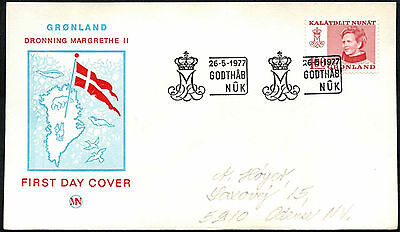 Greenland 1977, 100ore Queen Margrethe Definitive FDC First Day Cover #C41447