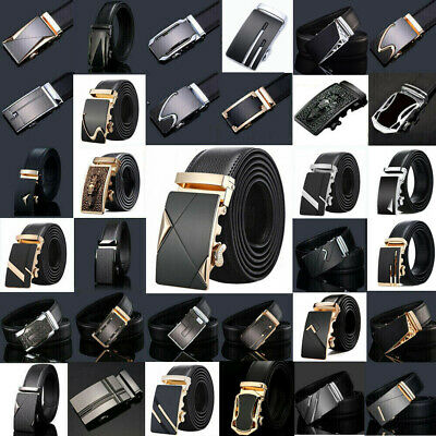 Men's Luxury Genuine Leather Alloy Automatic Buckle Waistband Belts Waist Strap