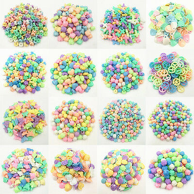 Creative 16 Shapes 50/100PCS Fluorescent Color Loose Beads For Girls Bracelets