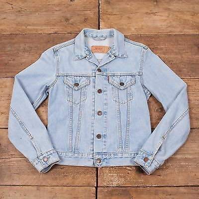 Girls Vintage Levis Red Tab Stonewash Blue Denim Trucker Jacket Medium R5676