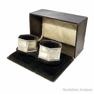 Antique Chinese export silver cherry blossom napkin rings original fitted case