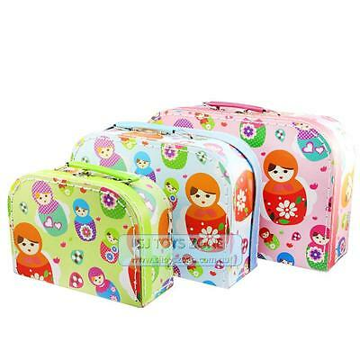 Children Russian Dolls Babushka Pattern Nesting Suitcases Set Of 3 Toy Storage