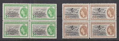 TURKS & CAICOS ISLANDS, 1953 QE pair, blocks of 4, mnh./lhm.