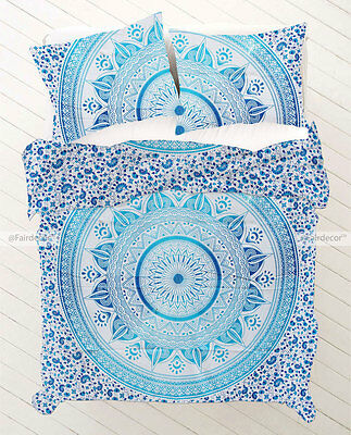 Blue Twin Size Ombre Bohemian Hippie Bedding Duvet Quilt Cover With Pilowcovers
