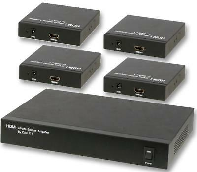 HDMI Over Cat5e/6 1:4 Splitter/Extender With 1x Sender & 4x Receivers PRO SIGNAL