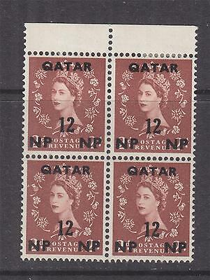 QATAR, 1960 QE Multiple Crown watermark, 12np. on 2d., marginal block of 4, mnh.